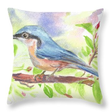 Spring Bird  Throw Pillow by Isabel Proffit