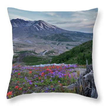 Spring Bloom Mt St Helens Throw Pillow