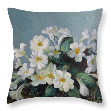 Throw Pillow featuring the painting Spring Blooms by Elena Oleniuc