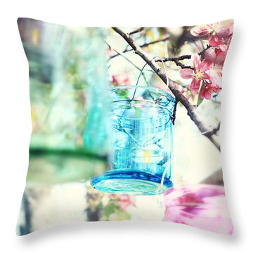 Spring Blossoms And Candles Throw Pillow