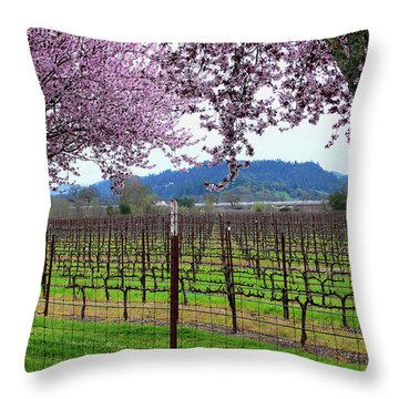 Spring Blossoms Near Calistoga Throw Pillow