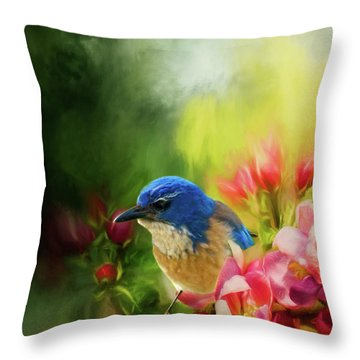 Spring Blue Jay Throw Pillow