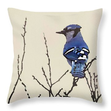 Spring Bluejay Throw Pillow
