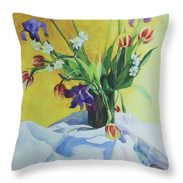 Spring Bouquet Throw Pillow by Elizabeth Carr