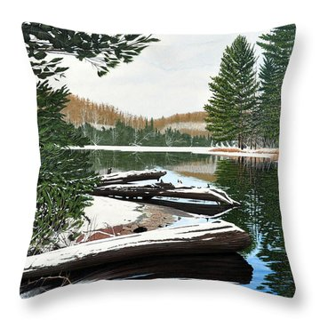 Throw Pillow featuring the painting Spring Breakup by Kenneth M Kirsch