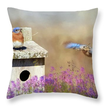 Throw Pillow featuring the photograph Spring Builders by Lori Deiter