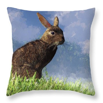Spring Bunny Throw Pillow by Daniel Eskridge