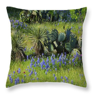 Spring Cactus, Yucca And Blue Bonnets Throw Pillow by Linda Phelps