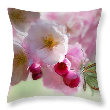 Spring Cherry Blossom Throw Pillow