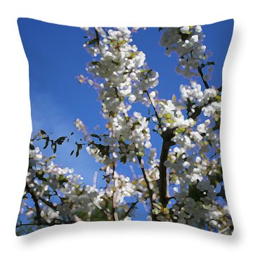 Spring Cherry Blossoms Throw Pillow by Mary Gaines