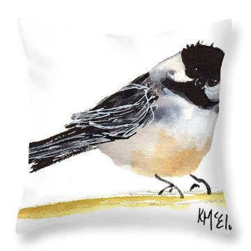 My Little Chickadee Bird Art Watercolor And Gouache And Ink Painting By Kmcelwaine Throw Pillow