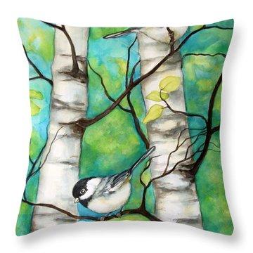 Spring Chickadees Throw Pillow