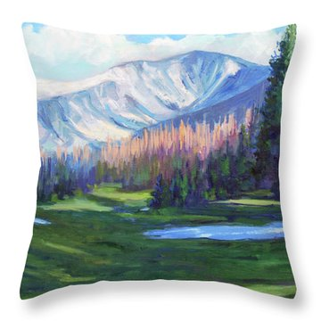 Throw Pillow featuring the painting Spring Colors In The Rockies by Billie Colson