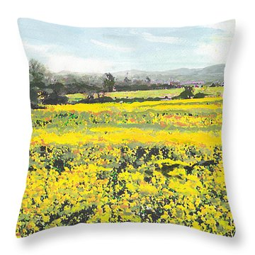 Spring Colors Yellow Mustard Fields Maryland Landscape Throw Pillow