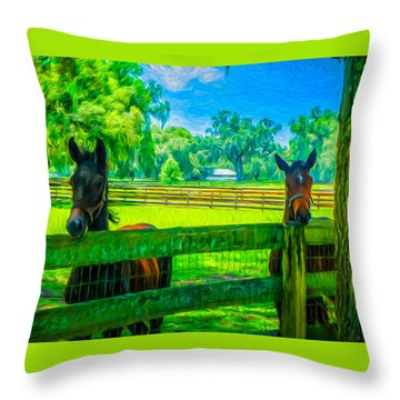 Throw Pillow featuring the painting Spring Colts by Louis Ferreira