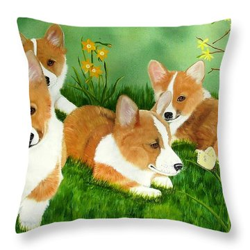 Spring Corgis Throw Pillow by Debbie LaFrance