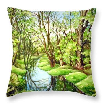 Spring Creek Throw Pillow by Inese Poga