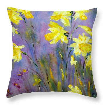 Throw Pillow featuring the painting Spring Daffodils by Claire Bull