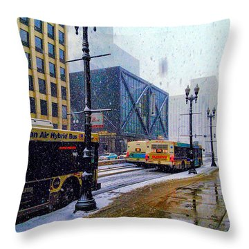 Spring Day In Chicago Throw Pillow