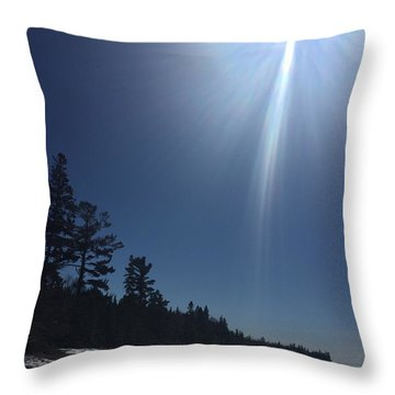 Throw Pillow featuring the photograph Spring Day Lake Superior by Paula Brown