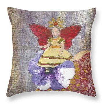 Throw Pillow featuring the mixed media Spring by Desiree Paquette