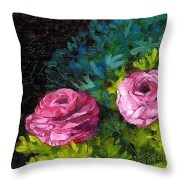 Spring Dewdrops Throw Pillow