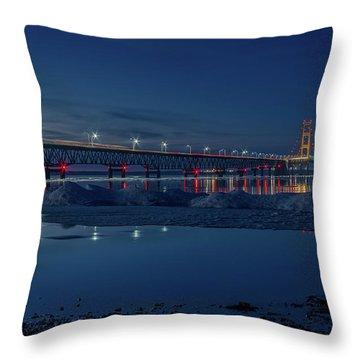 Spring Evening At The Mackinac Bridge Throw Pillow