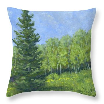 Spring Evergreen Throw Pillow