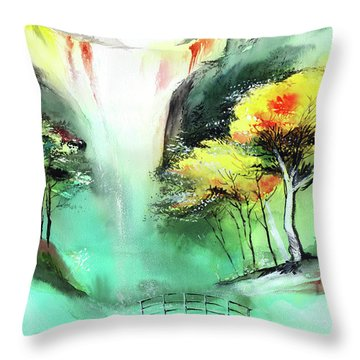 Throw Pillow featuring the painting Spring Fall by Anil Nene