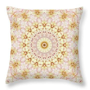 Spring Fantasy Floral Mandala Throw Pillow by Janusian Gallery