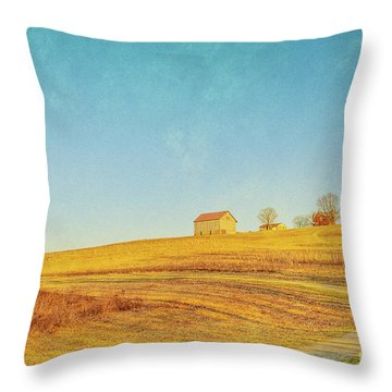 Throw Pillow featuring the digital art Spring Farm And Fields by Randy Steele