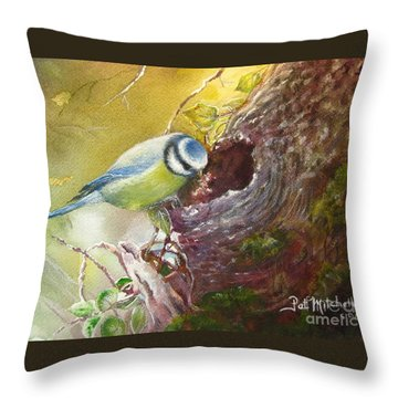 Spring Feeding Throw Pillow by Patricia Schneider Mitchell
