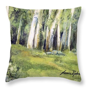 Throw Pillow featuring the painting Spring Field by Laurie Rohner