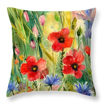 Spring Field Throw Pillow