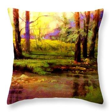 Spring Fields Along Sunlite Creek Throw Pillow by Joseph Barani