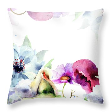 Spring Floral Background Throw Pillow