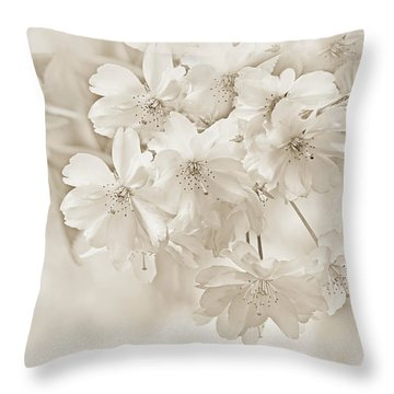Throw Pillow featuring the photograph Spring Flower Blossoms Soft Brown by Jennie Marie Schell