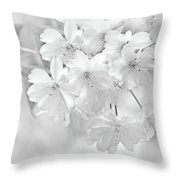 Throw Pillow featuring the photograph Spring Flower Blossoms Soft Gray by Jennie Marie Schell