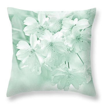 Throw Pillow featuring the photograph Spring Flower Blossoms Teal by Jennie Marie Schell