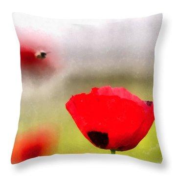Spring Flowering Poppies Throw Pillow