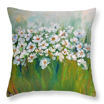 Throw Pillow featuring the painting Spring Flowers by AmaS Art