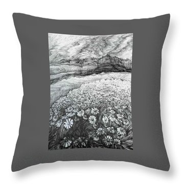 Throw Pillow featuring the drawing Spring Flowers by Anna  Duyunova