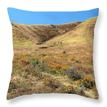 Spring Flowers At Foothills Of  Sierra Pelona Mountains Throw Pillow
