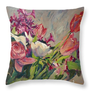 Spring Flowers Bouquet Throw Pillow