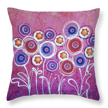 Pink New Flowers Throw Pillow