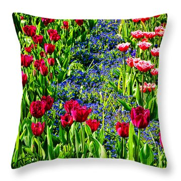 Spring Flowers Impression Throw Pillow by Olivier Le Queinec