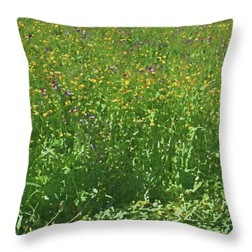 Spring Flowers In Meadow Throw Pillow