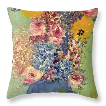 Spring Flowers In Vase Throw Pillow by Angela Holmes
