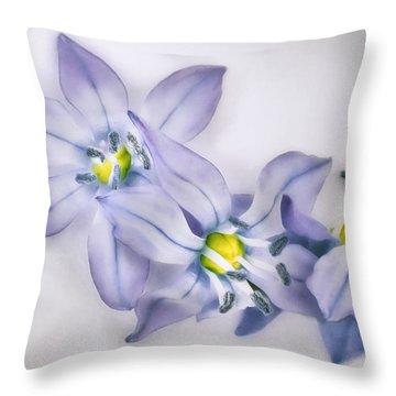 Spring Flowers On White Throw Pillow