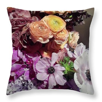 Spring Flowers Purple And Yellow Accent Bouquet  Throw Pillow